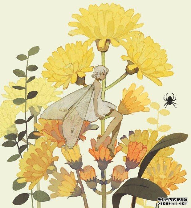 唯美花仙子,小精灵二次元小清新插画图片
