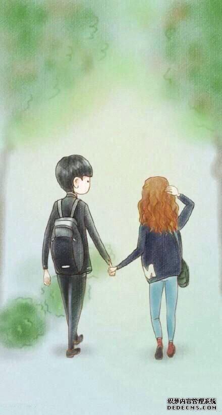 溫暖治愈系的甜蜜情侶韓國唯美插畫圖片