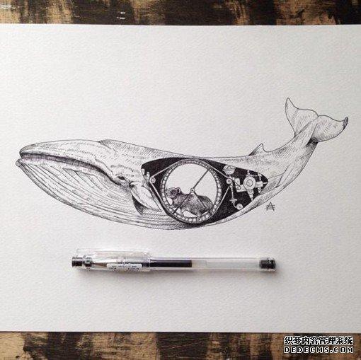 插画师Alfred Basha的幻想主义色彩的针管笔画作欣_www.psb60.net