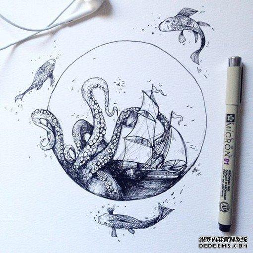 插画师Alfred Basha的幻想主义色彩的针管笔画作欣_sbkh.31zr.net