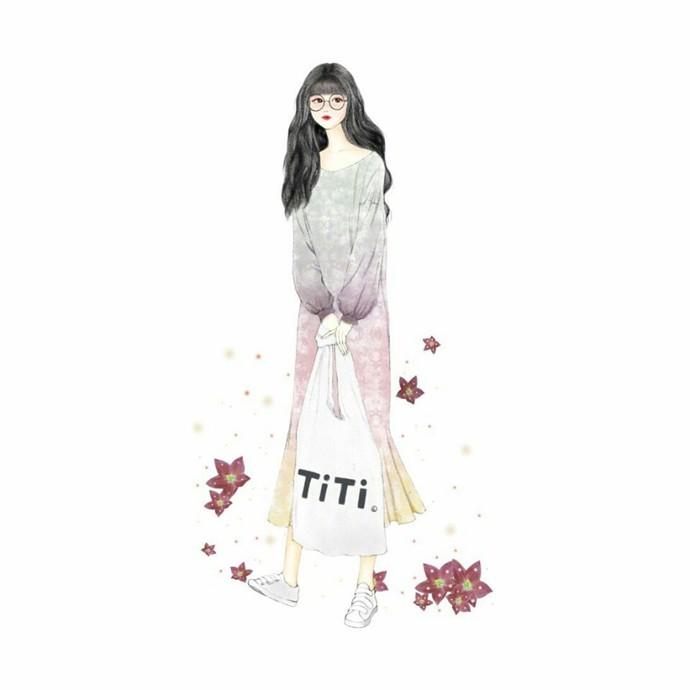 时尚优雅的美少女手绘人物插画图片