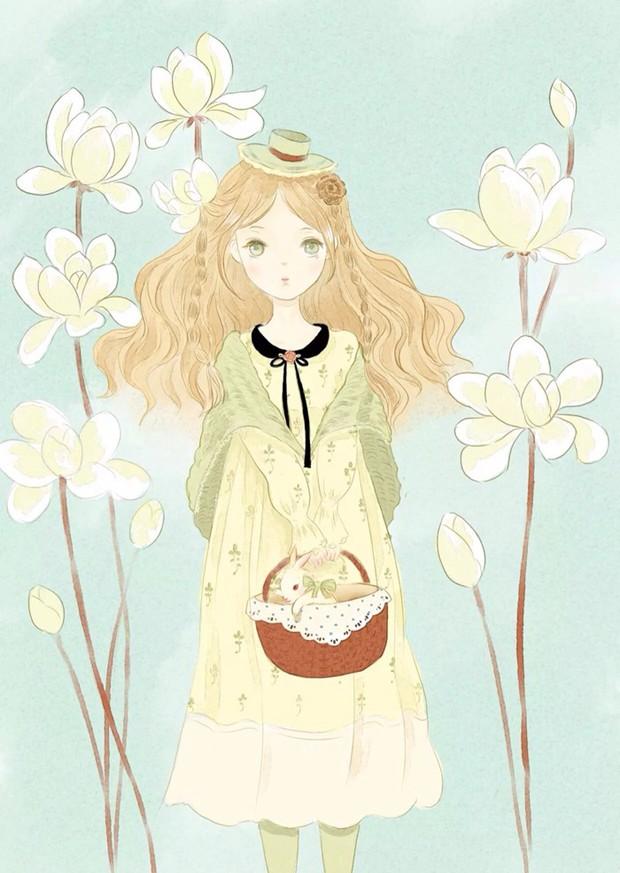9张简单又漂亮的小清新女生插画美图