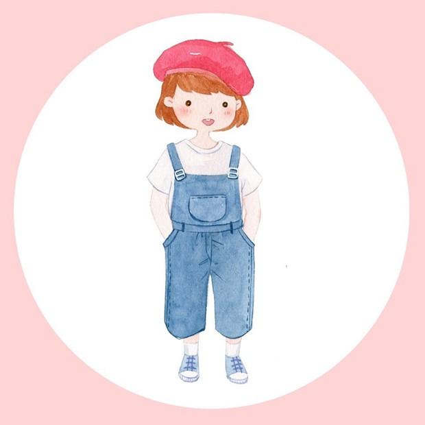 可爱的阳光小女孩小清新水彩画图片图片