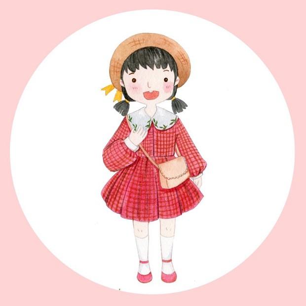 可爱的阳光小女孩小清新水彩画图片