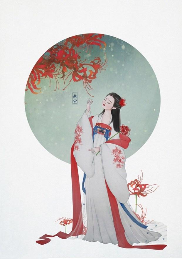 唯美汉服美女的古风人物手绘插画图片
