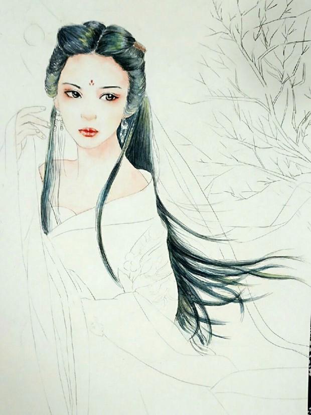 古风美女水彩画的绘画上色过程图
