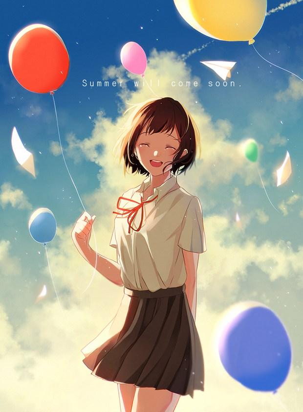超美的日系二次元校服女生唯美插画图片