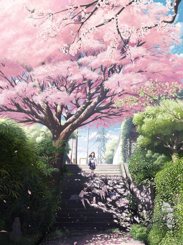 满屏都是樱花的小清新治愈系插画图片