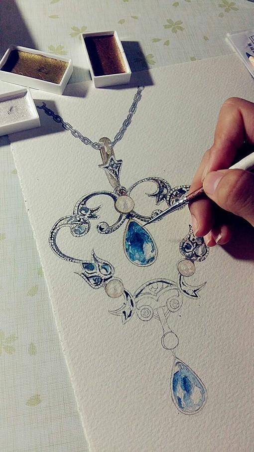 插画师林淑莹echo用水彩手绘精美的蓝宝石项链