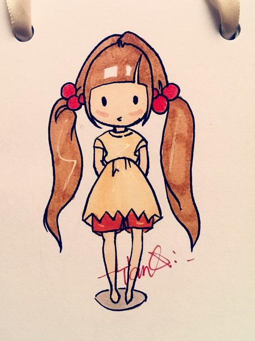 甜美卡哇伊的美少女萝莉简笔画手绘图片欣赏_www.psb60.net