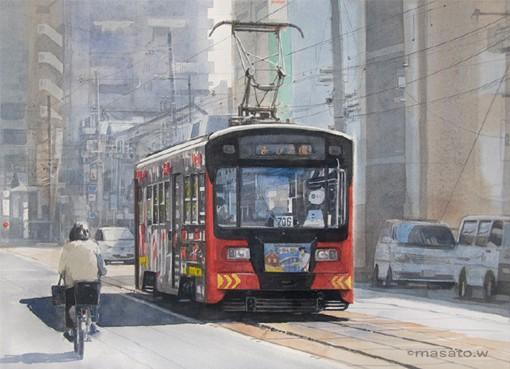 水彩画家渡部政人的日本城市街头风光水彩画_www.psb60.net